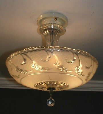 Antique semi flush frosted glass art deco light fixture ceiling chandelier 1940s