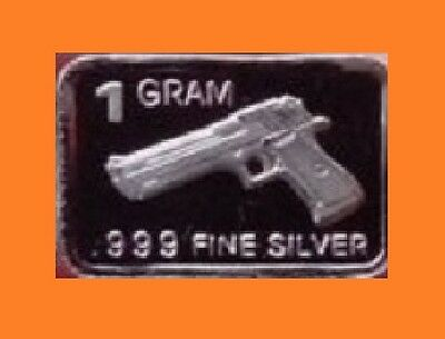 """New 1 gm. Whason Mint .999 silver bar - """"0.45 Luger style"""" pistol  ++ADD-ONs OK!"""