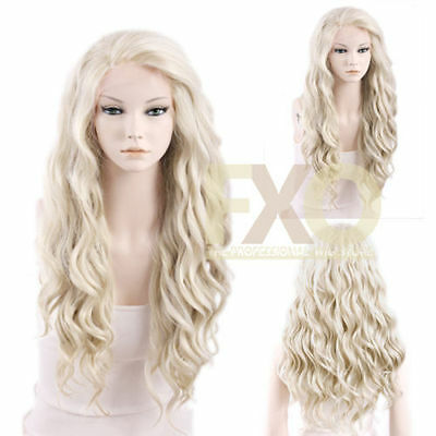 Fashion Long Wavy Ash Blonde Hair Lace Front Wig Heat Resistant Full Wig