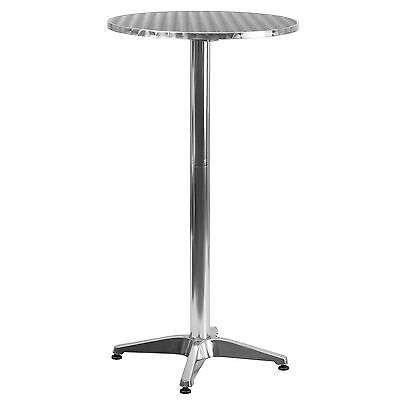 25.5'' Round Aluminum Indoor-Outdoor Folding Bar Height Table with Base
