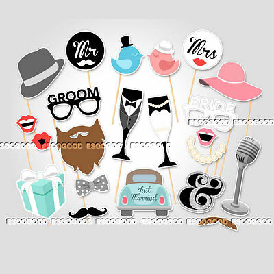 22PCS Photo Booth Prop Moustache Wedding Hen Do Party Stag Night Selfie Game