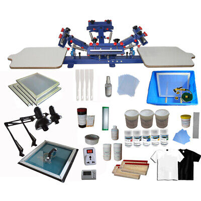 Silk Screen Printing Press 4 Color 2 Station & Full Set Materials Kit