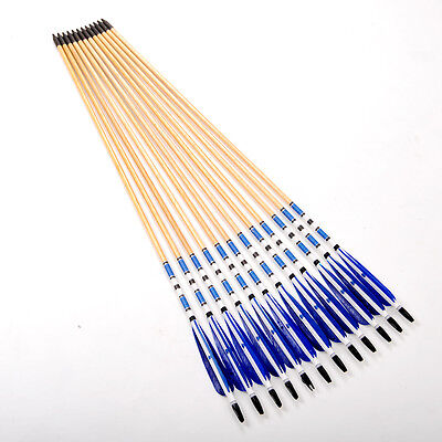 Archery 8.7 MM Wooden Shaft Arrows Fit Long Bow Traditional Long Bow Use 80cm