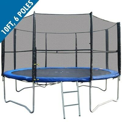 BodyRip 10FT REPLACEMENT 6 POLE TRAMPOLINE SAFETY NET ENCLOSURE SURROUND OUTDOOR