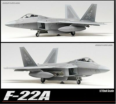 Academy 1/72 F-22A Raptor Air Dominance Fighter Plastic Model Kit NIB 12423