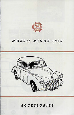 Morris Minor 1000 Accessories Early 1960s UK Market Foldout Sales Brochure