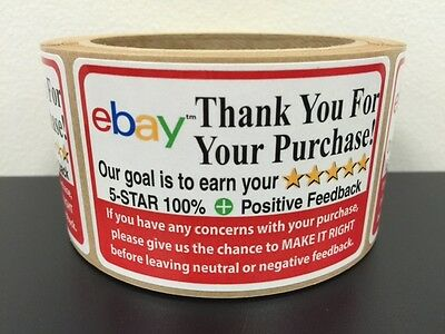 100 Ebay Thank You For Your Purchase Stickers 2 x 3  5 Star Rating Label FB