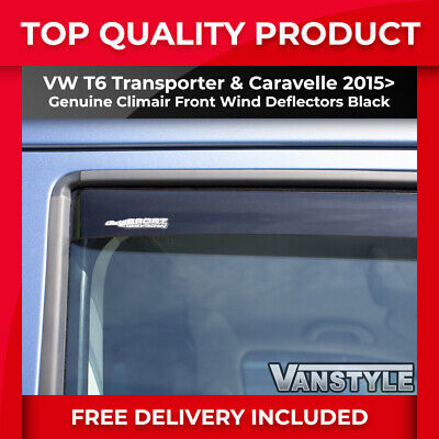 Vw T6 Transporter Genuine Climair Front Wind Deflectors Dark Smoked Sport Tint