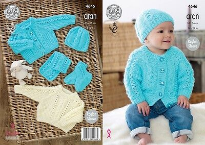 KINGCOLE 4646 ARAN BABY KNITTING PATTERN - 14-22inch- not the finished garments