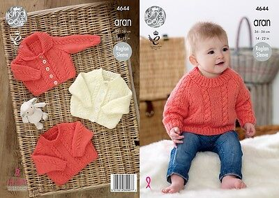 KINGCOLE 4644 ARAN BABY KNITTING PATTERN - 14-22inch- not the finished garments