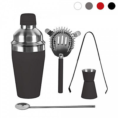 Set 5 Accessori Professionali in Acciaio e Gomma Barman Cocktail Shaker Feste
