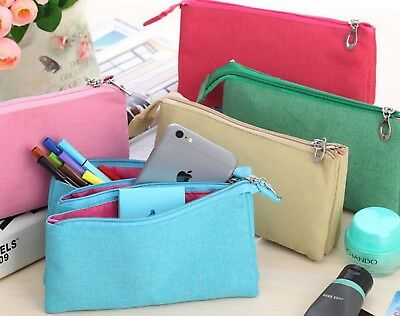 Large Volume Canvas Pencil Case Zipper Cosmetic Make-up Pouch Phone Cable Bag