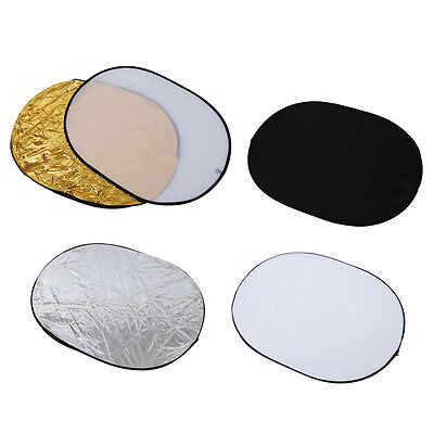 """5 in 1 collapsible reflector oval photo studio 90 x 120 cm (35 """"x 47 ') W1"""