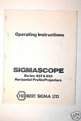 HERBERT SIGMA Manual  INSTRUCTION SIGMASCOPE 937 & 933 Profile PROJECTORS #RR676