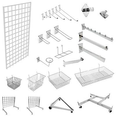 Grid Panel Wall Mesh Chrome Retail Shop Display Panel Accessory Hook Arms