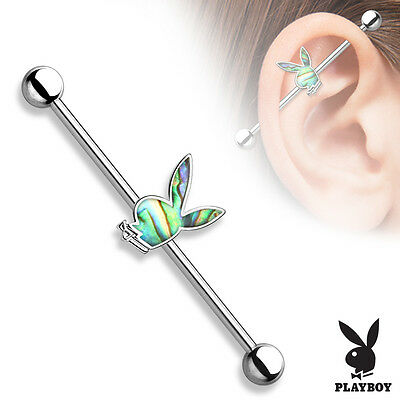 Gold Playboy Bunny Industrial Barbell Cartilage Piercing 14g 1 1 4