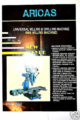 ARICAS UNIVERSAL MILLING & DRILLING MACHINE  BROCHURE #RR436 features