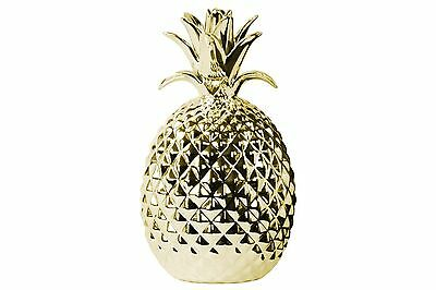 """Urban Trends Porcelain Pineapple Figurine- Polished Gold - 11"""" Tall"""