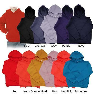 New Plain Pullover Sweatshirt Boys Girls Children Kids Hoodie All Colors S~2XL
