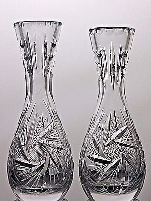 Bohemia Hand Cut Lead Crystal Vases  With Pinwheel Pattern