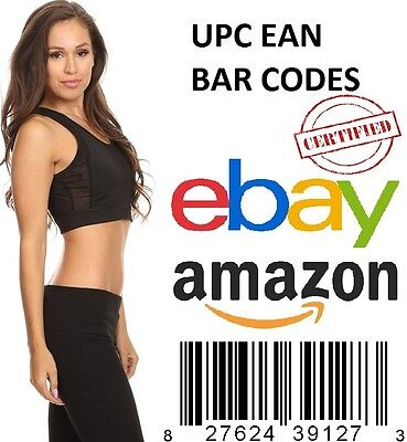 100 UPC EAN Codes Certified Numbers Barcodes Amazon eBay Lifetime Guarantee
