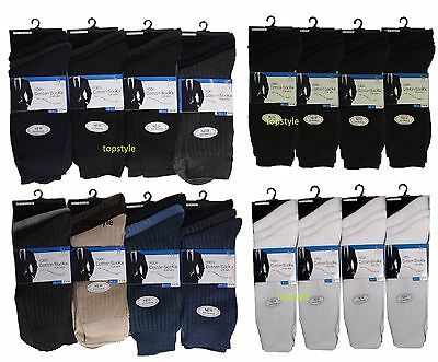 12 Pairs Mens Socks 100% Cotton Anti-Bacterial Socks 6-11 Black Lot New