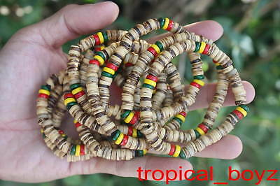 10 Rasta Reggae PALE Coconut Shell Wood Beads Stretchy Bracelets Wholesale Lot