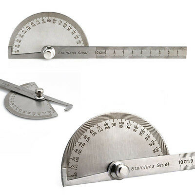 Stainless Steel Round Head Rotary Protractor Goniometer Angle Measuring Tool