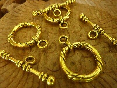 3 Sets Extra Large Antique Gold Toggle Clasp 22mm