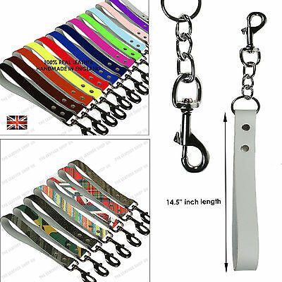 "14.5"" Long Strong Leather Dog Lead Chain Handle W/Extra Heavy Duty Trigger Clip"