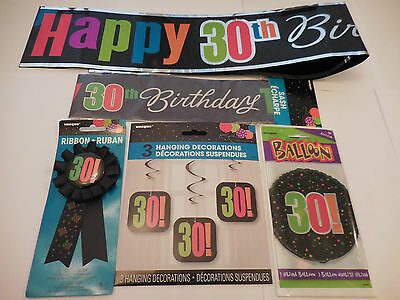 30Th Birthday Party Decorations Black Multicoloured Birthday Cheer
