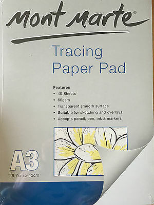 80 Sheets Mont Marte Tracing Paper Pad A3 Artist Sketching Overlay Crafts Arts
