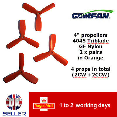 "Gemfan Propellers Quad Props 4"" 4045 BN Triblade x4 2 Pairs Orange GFN 180 UK"