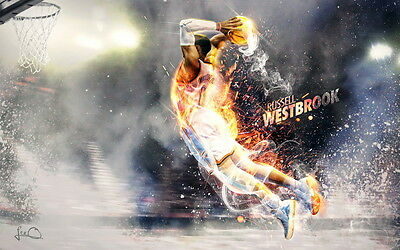 "214 Russell Westbrook - Oklahoma City Thunder Basketball NBA 22""x14"" Poster"