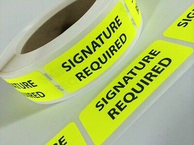100 1 x 2.5 SIGNATURE REQUIRED STICKERS Labels YELLOW Fluorescent Stickers NEW