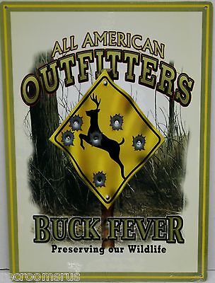 AMERICAN OUTFITTERS BUCK FEVER metal sign preserving wildlife deer hunting do-38