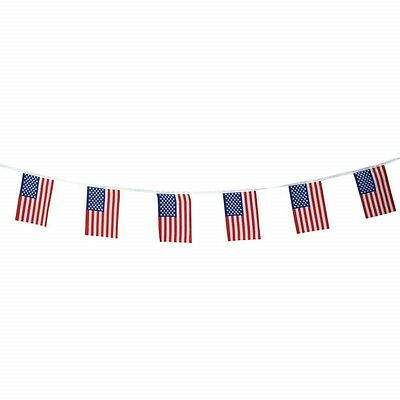 "16' String 6"" x 9"" US FLAG Party Banner USA American Stars Stripes United States"