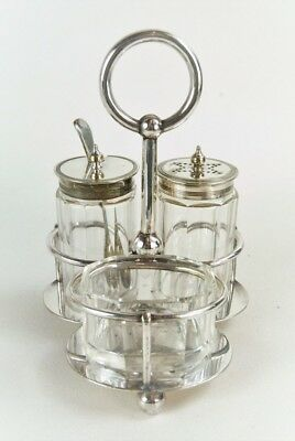 Condiment Cruet Set Vintage Silver ornate With 3 Glass containers