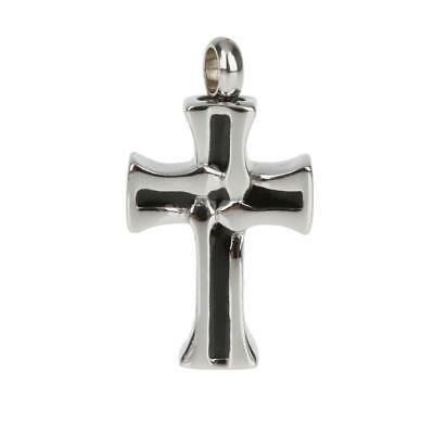 Stainless Steel Memorial Pet Cremation Ash Urn Cross Holder Pendant Necklace