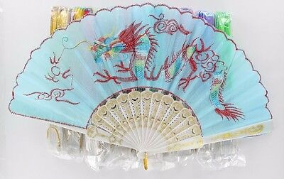 Lot of 12X Mixed Colors & Designs Decorative Embroidered Oriental Hand Fan