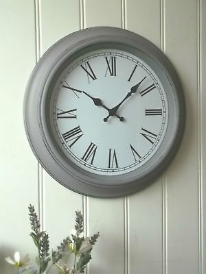 Shabby Chic LARGE FRENCH GREY WALL CLOCK Antique Vintage Style 40cm NEW