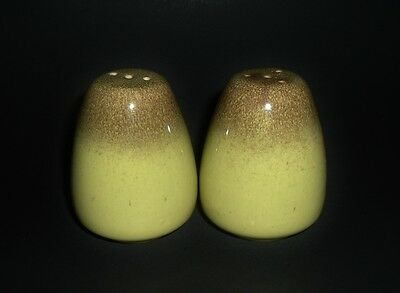 Bauer Pottery Salt & Pepper Shakers Mission Moderne VGVC Chartreuse Brown Rim