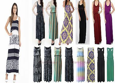 NEW LADIES MAXI JERSEY PUFFBALL BALLOON TOGA RACER BACK VEST LONG DRESS UK 8-26