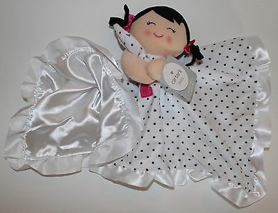 Carters Baby Polka Dot Doll Girl Silky Rattle Security Blanket Blankie Lovey NWT
