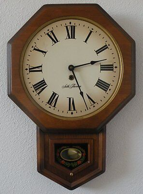 Seth Thomas Wall Clock Old Style Solid wood Case Model E477-001- Works great