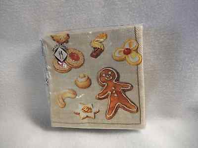 Mesafina Gingerbread Cookies On Beige Background 20 Cocktail Paper Napkins-New