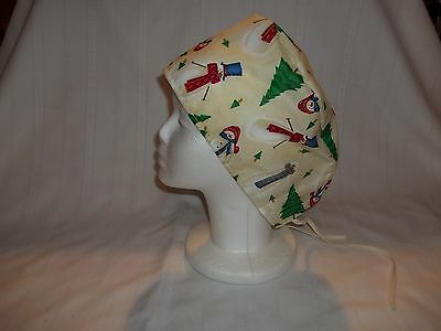 Snowman and Christmas Tree Surgical Scrub Chemo Biker Hat/Cap Tieback