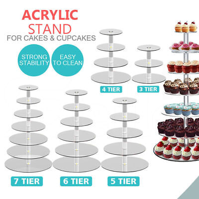 3/4/5/6/7/Tier Clear Acrylic Round Cake Cupcake Stand Party Birthday Wedding