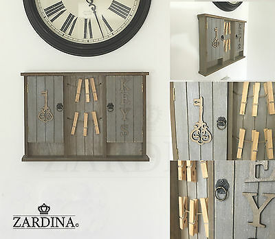 Vintage Shabby Chic Wooden Key Cabinet Storage Wall Mounted Box with Memo pegs