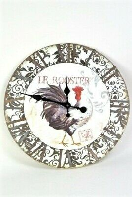 Kitchen Clock Vintage Style Black Grey and White Large Le Rooster Chicken Wall C